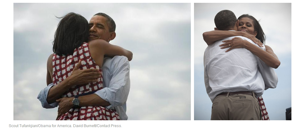 Barack Obama and Michelle's Alternate View Victory Hugs